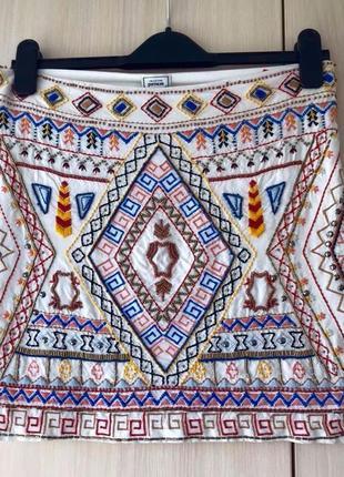 Белая юбка с орнаментом pimkie / xs / s / m / l / вышивка, бисер