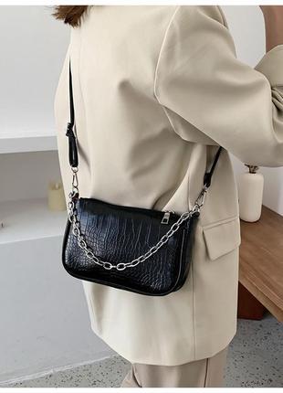 Мини сумка багет черная