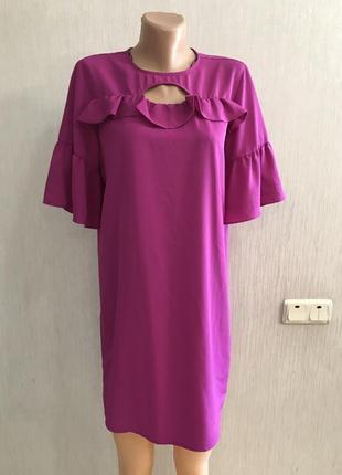 Шикарнейшее платье с рюшами от primark фуксия р.10 английский