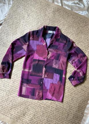 Яркая актуальная тонкая свободная блуза веган шелк винтаж малиновая рубашка