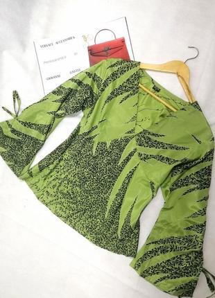 Шелковая кофта блузка зеленая
