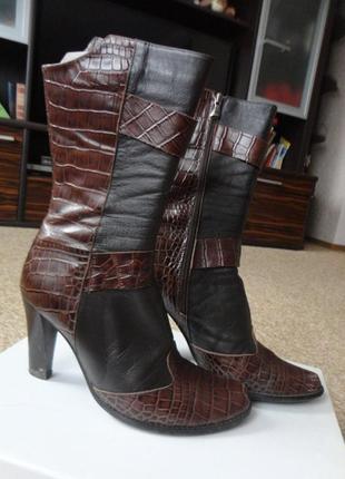 Ботинки полностью кожаные принт под рептилию р. 38