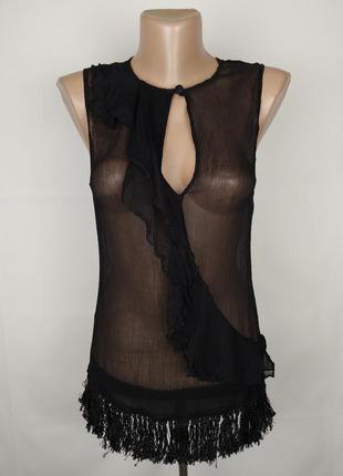 Блуза шелковая шикарная с бахромой french connection uk 12/40/m