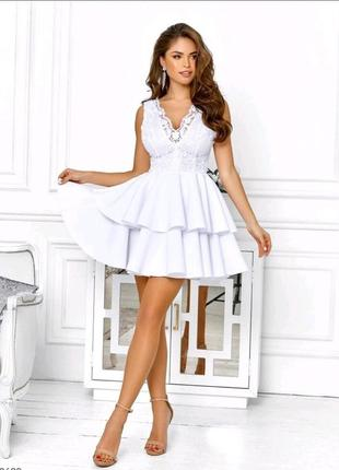 Белое платье, пышное платье, платье с кружевом, свадебное платье