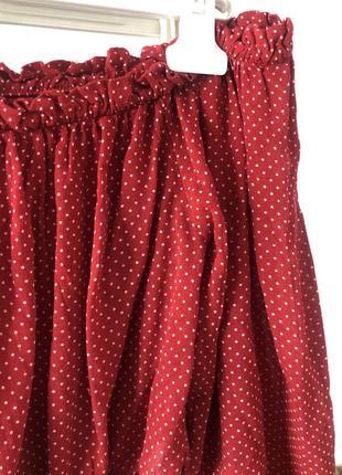 ▪️стильна укорочена червона блуза в горох forever 212 фото