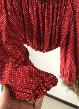 ▪️стильна укорочена червона блуза в горох forever 215 фото
