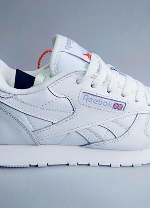 Женские кроссовки reebok classic leather, white
