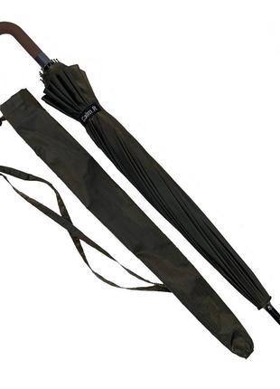 Женский зонтик-трость, полуавтомат, оливково-серый (хамелеон)7 фото