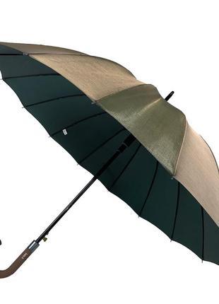 Женский зонтик-трость, полуавтомат, оливково-серый (хамелеон)1 фото