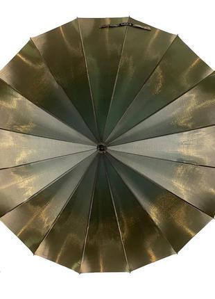 Женский зонтик-трость, полуавтомат, оливково-серый (хамелеон)3 фото