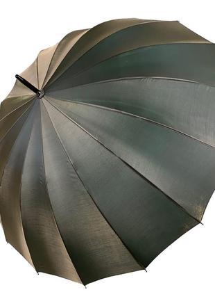 Женский зонтик-трость, полуавтомат, оливково-серый (хамелеон)2 фото