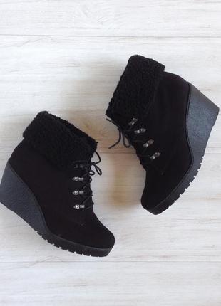 Ботинки на платформе new look 36 р 23 см черные сапоги полусапоги на шнуровке