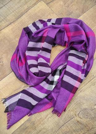 Платок шарф шаль палантин накидка фиолетовый сиреневый клетка