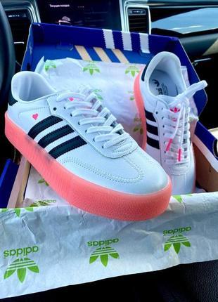 Женские кроссовки adidas samba white\rose