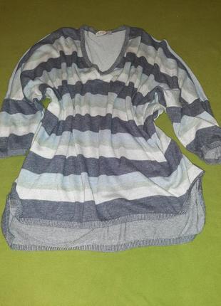 Суперовая туника, спокойных тёплых тонов, пуловер свободного покроя, большого размера