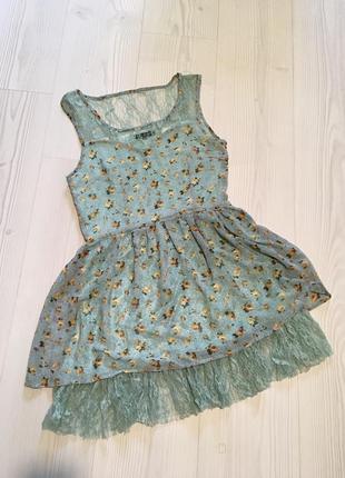 Нежное мятное платье qed london в цветочный принт шифоновое2 фото