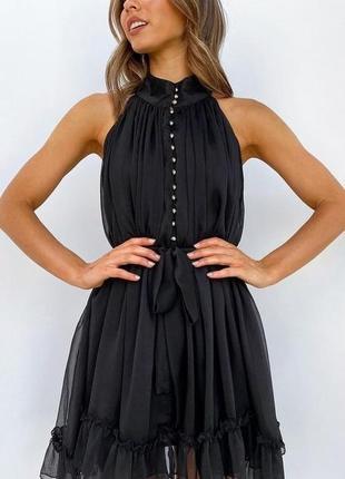 Красивое летнее платье чёрное шифоновое платье сарафан