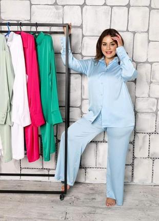 Пижама рубашка штаны  свободного кроя шелк
