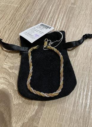 Женский серебряный браслет с позолотой 18 см (попкорн)