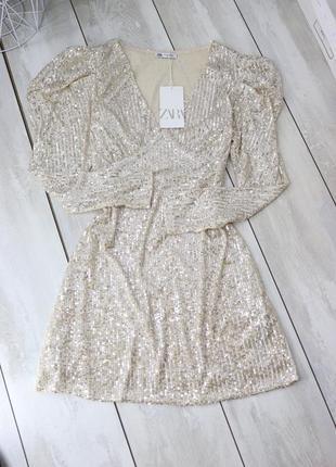 Платье блестящее zara