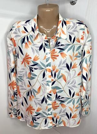 Льняная рубашка с цветочным принтом