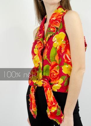 Isabel de pedro винтажная укороченная льняная рубашка без рукавов из льна топ с завязками