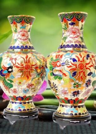 Набор: две вазы из перегородочной эмали на подставках- цена за 2