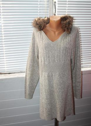 Длинный свитер с меховым капюшоном 4xl-6xl