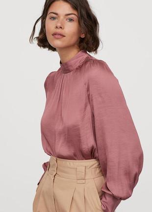 Сатиновая блузка блуза с широкими рукавами