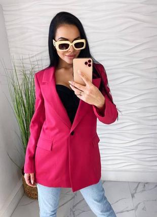 Удлиненный пиджак малиновый