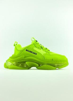 Яркие салотывые зеленые лимонные женские кроссовки (triple s clear sole green)