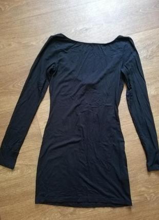 Платье чёрное женское короткое открытая спина длинный рукав topshop