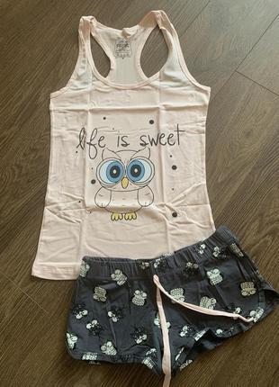 Пижама женская с шортами турция, хлопок, піжама з шортами для дівчинки, бавовна