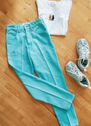 Плотные бирюзовые джинсы mom (s-m) с завышенной талией 28 размер