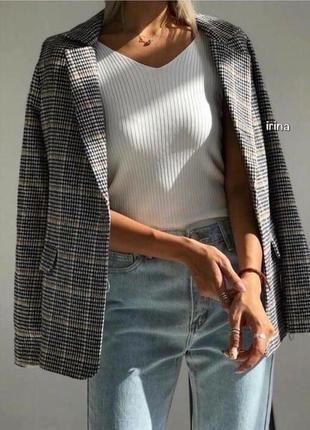 Пиджак в клетку, пиджак коричнево- серая клетка