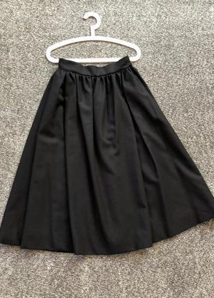 Итальянская шикарная винтажная шерстяная расклешенная юбка миди от valentino