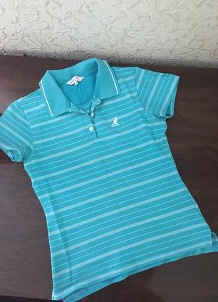 Поло голубое в полоску футболка хлопок