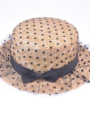 Пляжная шляпка в горошек