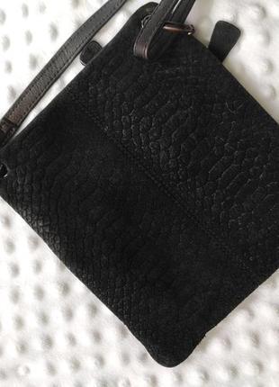 Сумка черная маленькая через плече замшевая натуральная кожа планшет квадратная