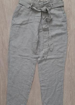 Классные легкие льняные брюки в полосочку mango, размер xs-s.