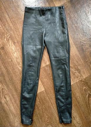 Кожаные брюки лосины кожзам экокожа высокая талия посадка зара