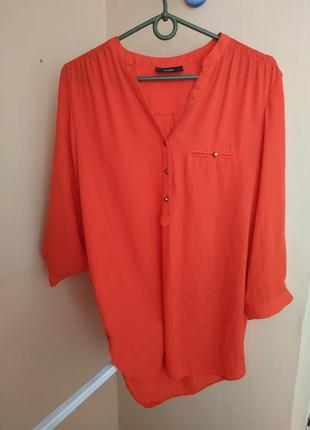 Рубашка оранжевая с рукавами в три четверти