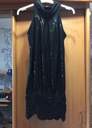 Платье с паетками нарядное на выход вечернее короткое