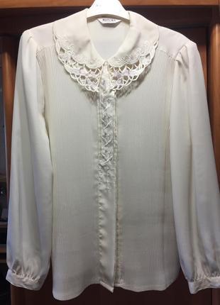 Шифоновая винтажная блузка рубашка с кружевным воротником плиссировка