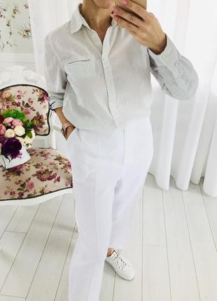 Tommy hilfiger хлопковая белая рубашка в горошек