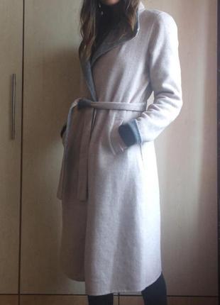 Пальто шерстяное пальто-халат
