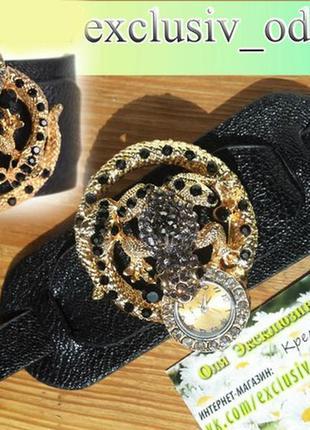 Новые шикарные часы-браслет с камнями. жаба и змея.