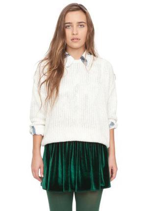 Шикарная бархатная юбка-солнце american apparel изумрудного цвета