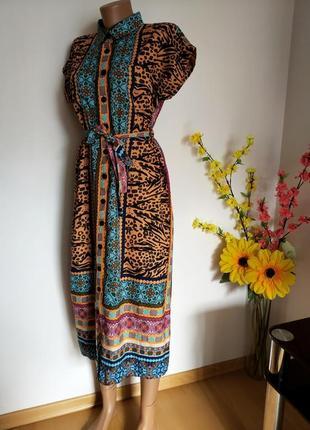 Платье рубшка миди с поясом
