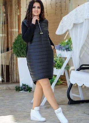 Черное спортивное платье на флисе